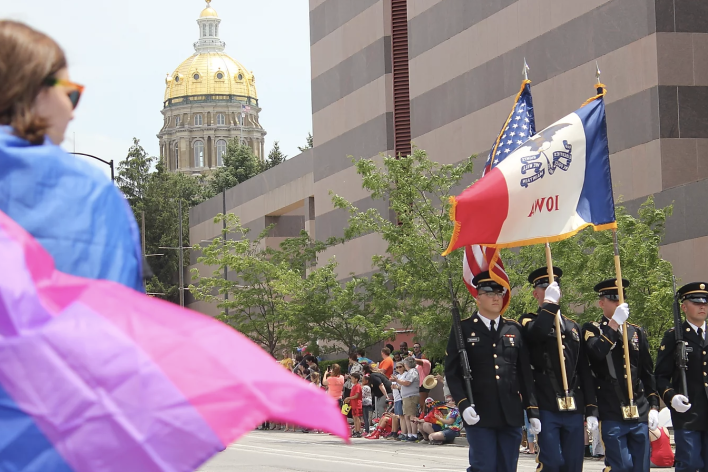 Marines marching in the Des Moines Pride Fest Parade