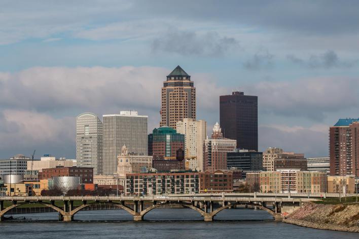 Downtown Des Moines skyline daytime