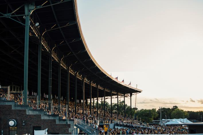 Fans in the Iowa State Fair Grandstand
