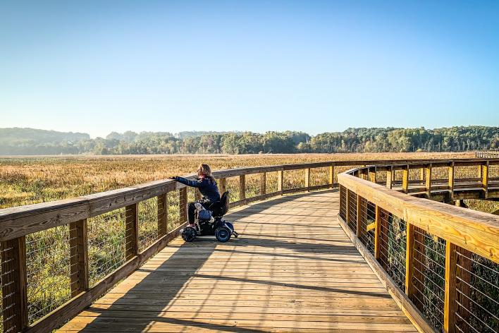 Woman in wheelchair on Neabsco Creek Boardwalk during Fall