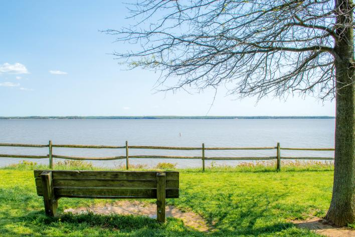 a bench near the shores of Leesylvania State Park