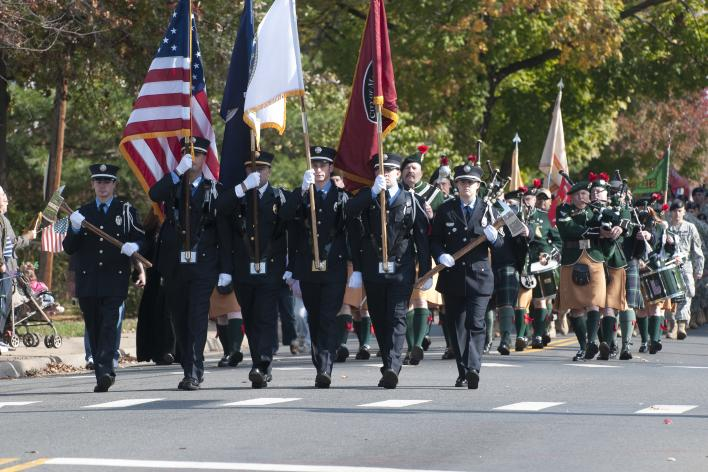 Military Personnel walking in a parade