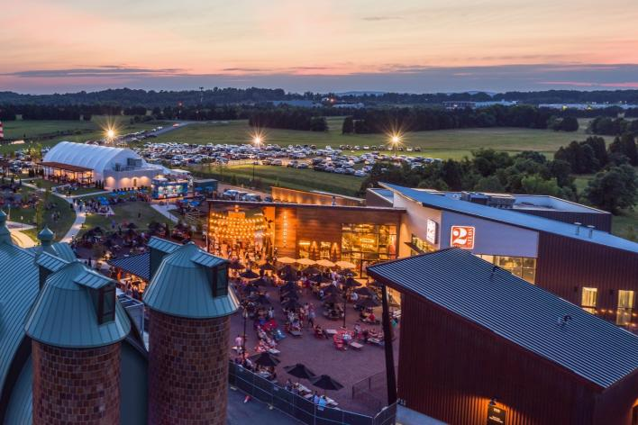 evening aerial view of Farm Brew Live