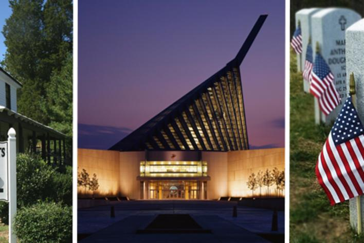 A collage, one picture has a white building, the second has a building lit up at dusk, the third is of headstones with American flags