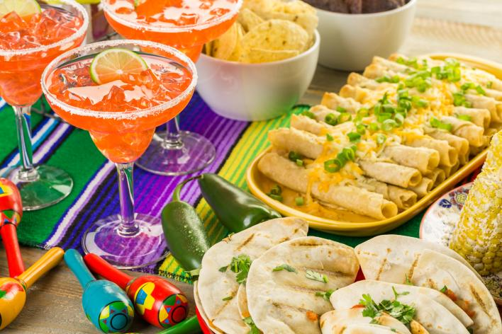 Mexican Food, and Margaritas  on a festive table setting