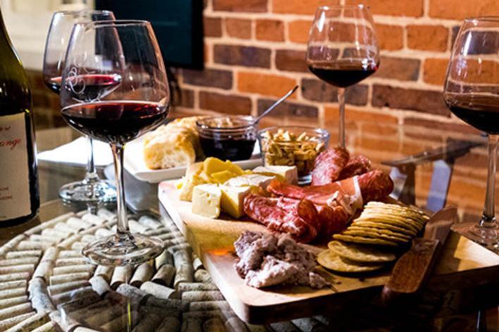 Cheese and Wine display at the Winery at La Grange