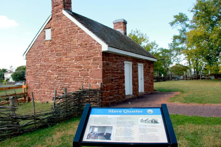 exterior view of Ben Lomond's  Slave Quarter a small brick building