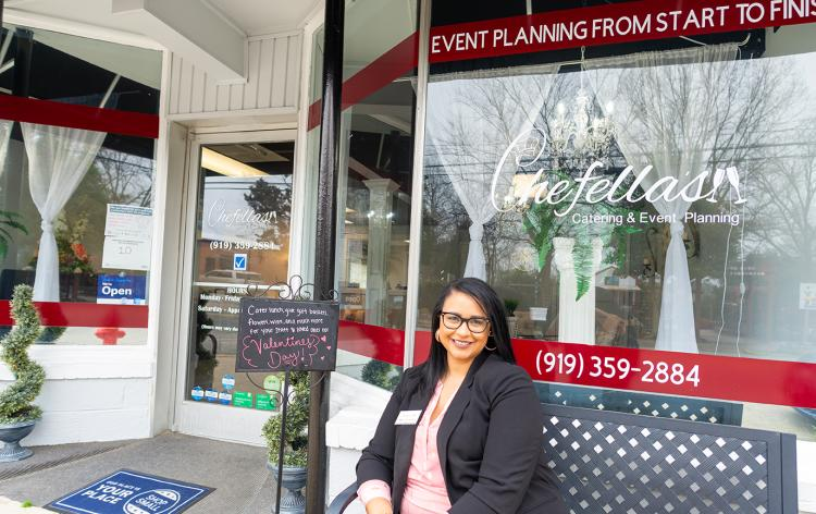 Chefella's Owner Sits in Front of Her Event Planning Business