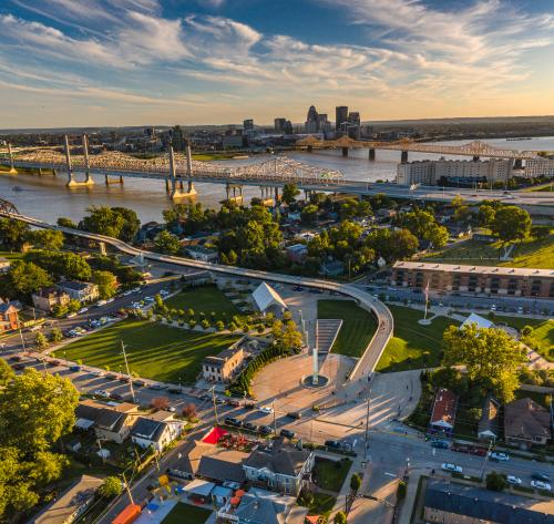 southern indiana aerial - downtown Louisville and Downtown Jeffersonville