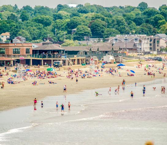 People at Easton's Beach in Newport, Rhode Island