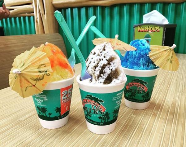 A trio of treats of Shaved ice from Bahama Bucks