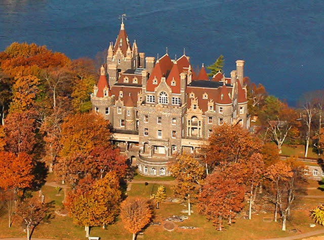An aerial view of Boldt Castle amid fall foliage
