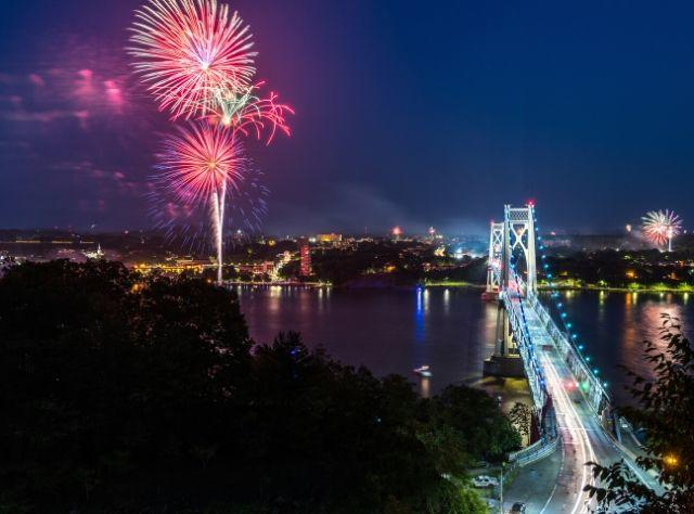 A photo of Independence Day fireworks between Mid Hudson Bridge and Walkway over the Hudson