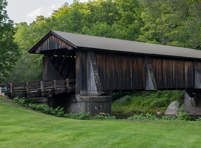 A picture of the exterior of Livingston Manor Covered Bridge