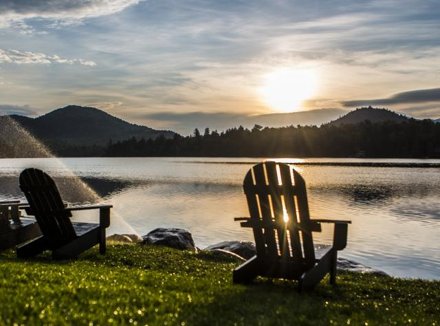 Lake Placid - Mirror Lake Chairs, Sunrise