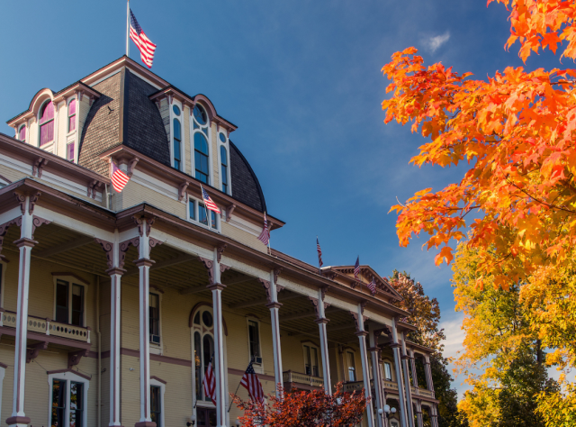 The exterior of Athenaeum Hotel on a sunny fall day