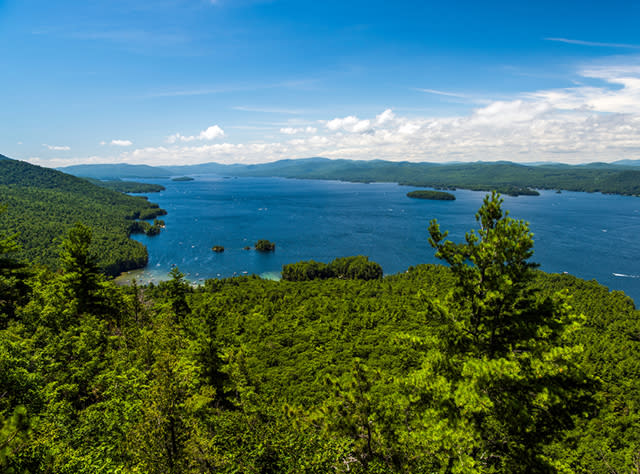 An aerial view of Lake George from Shelving Rock in the Adirondacks
