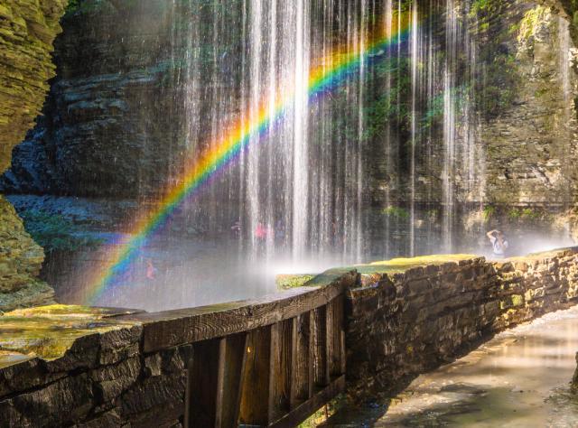 A rainbow shining in Watkins Glen State Park