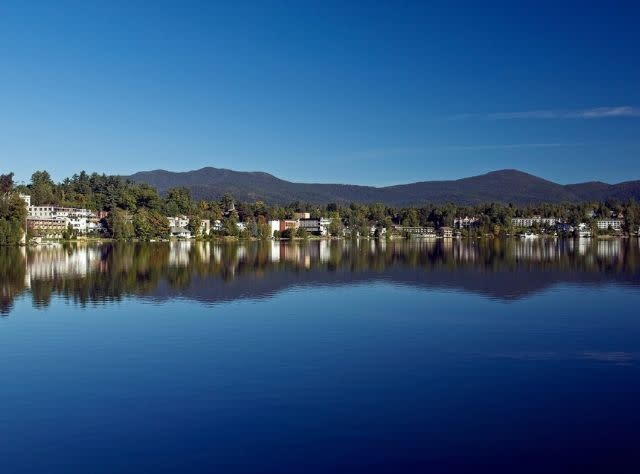 A view of Lake Placid from across a lake