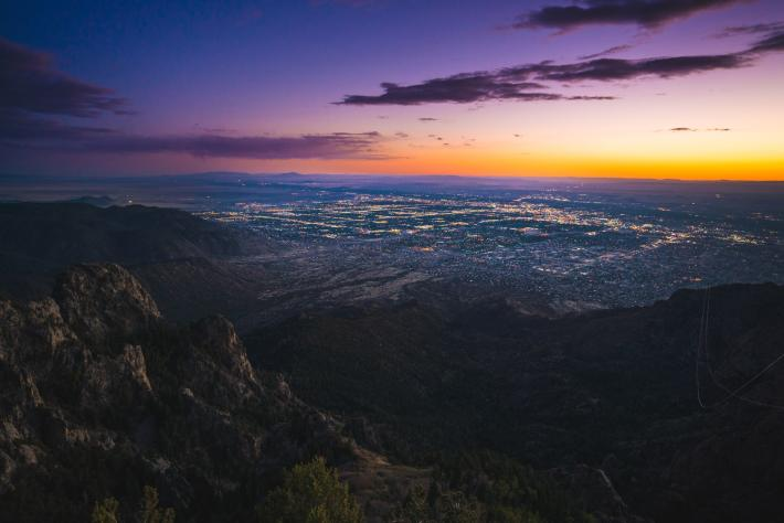 The city at sunset from Sandia Crest.