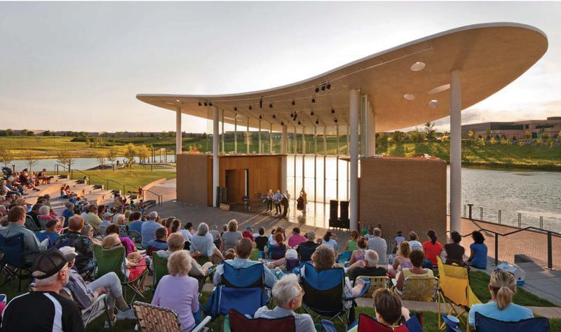 Outdoor summer concert at Town Green Bandshell