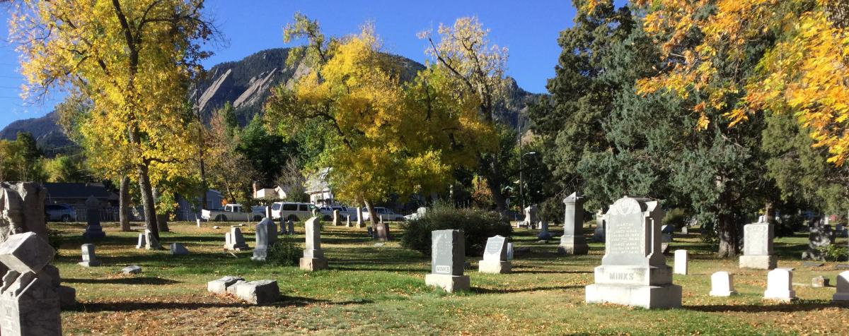 Columbia Cemetery with fall foliage