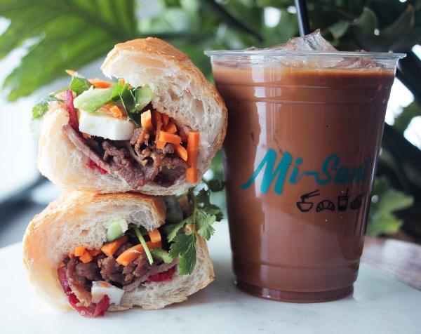 Banh mi sandwich and iced coffee
