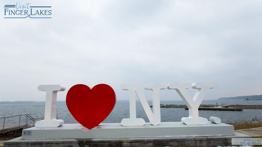 ILOVENY sign overlooking Seneca Lake