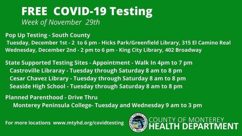Pop Up Testing Sites Week of Nov 29, 2020