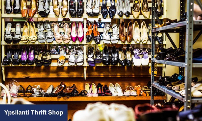 Ypsilanti Thrift Shop shoe rack
