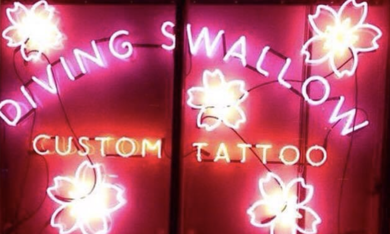 Diving Swallow Tattoo Sign