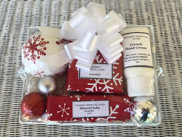 Andree's Holiday Gift Set of soaps and creams from Andree's Essential Soaps in Athens, GA.