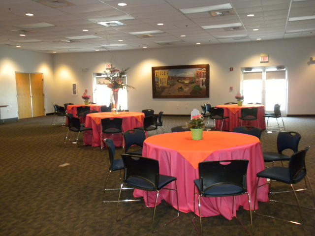 Round Tables with Colored Tablecloths
