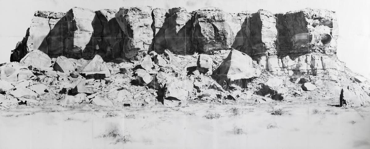 """Chaco Range, graphite on vellum dipped in beeswax, 5'7"""" x 15', New Mexico Magazine"""