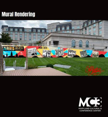 MC3 mural rendering of Carr's Beach mural.