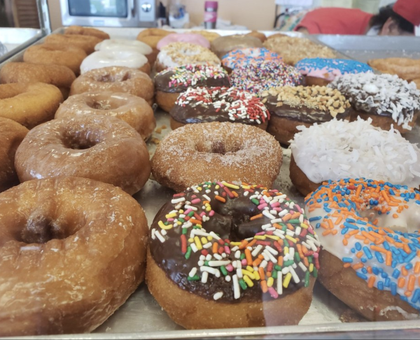 A variety of donuts on display at Le Donut in Houston, TX