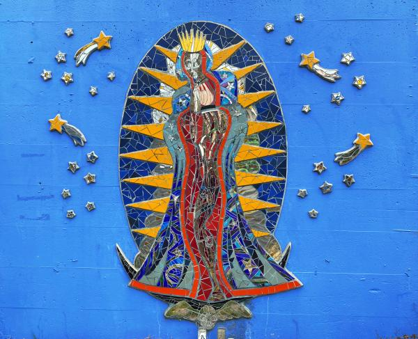 Peterson St Art Wall Mosaic of Virgen of Guadalupe