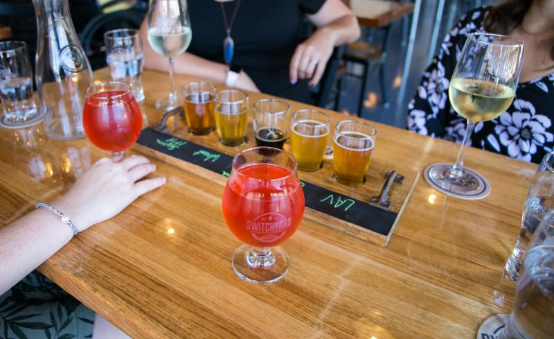 An assortment of beers and wines from Switchyard Brewery