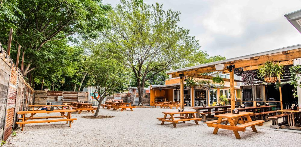 Sour Duck Patio with wood picnic tables