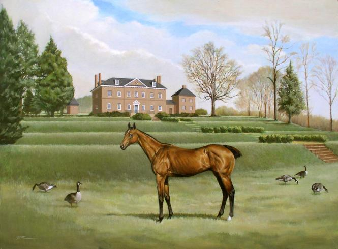 horse painting of Selima, a Godolphin Arabian mare on her owner Samuel Ogle's Belair mansion.