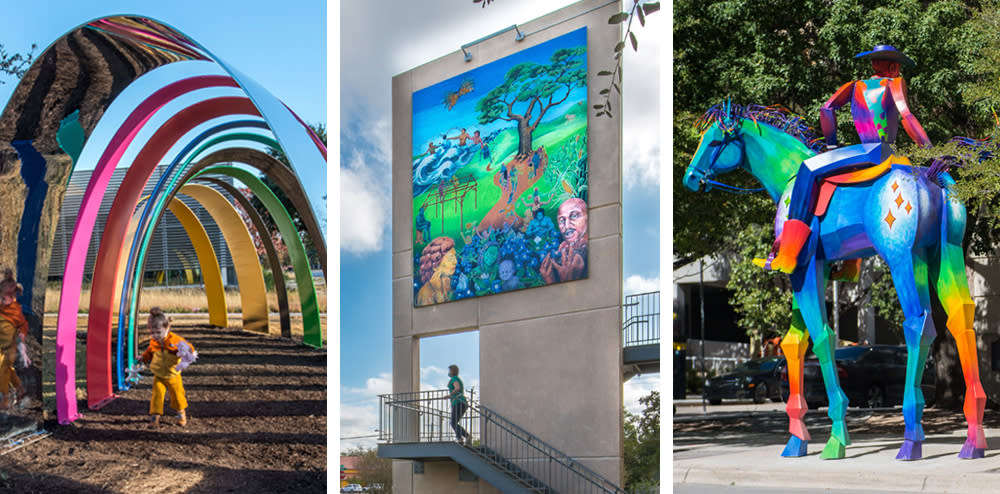 collage of three outdoor sculptures and paintings for Museum without Walls program from City of Austin