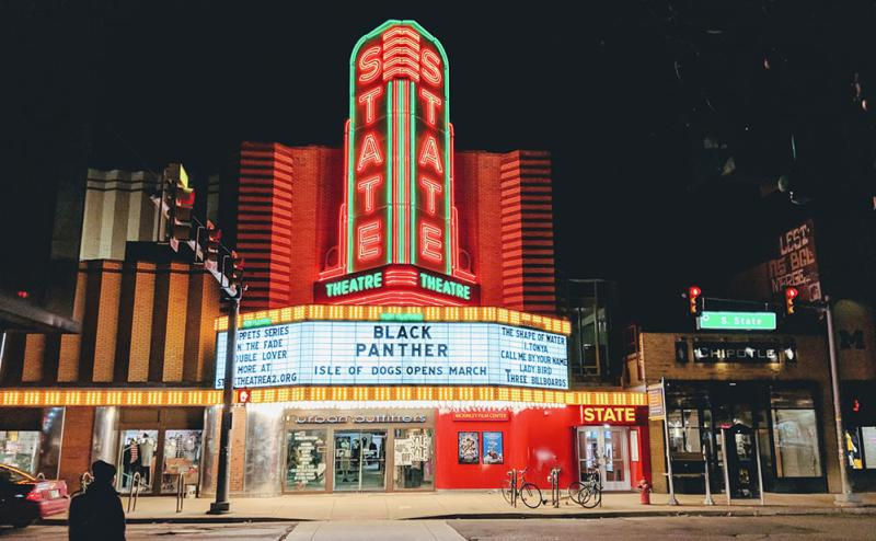 Historic State Theatre at night