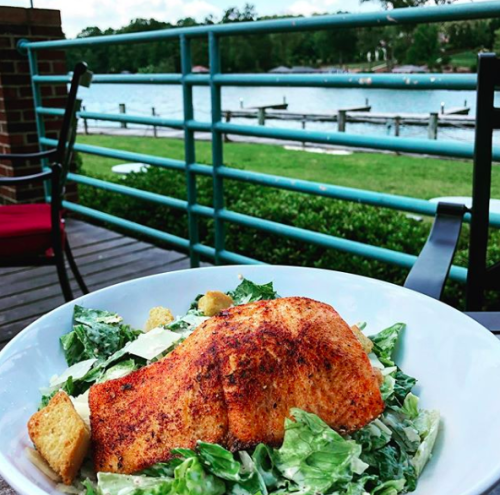 Salmon plate with lakefront view at Port City Club