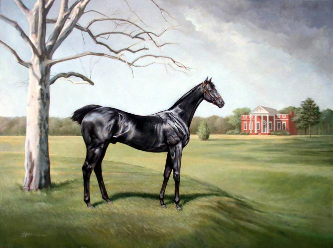 Artist's rendering of the horse Othello at his owner's mansion, Whitehall- just outside of Annapolis.