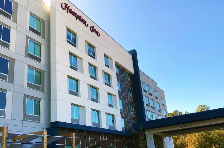 Exterior Facade of Brand New Hampton Inn Hotel