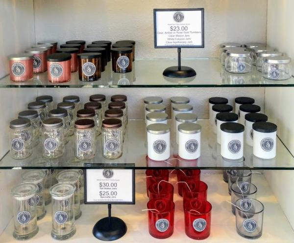 Selection of candle jars on display