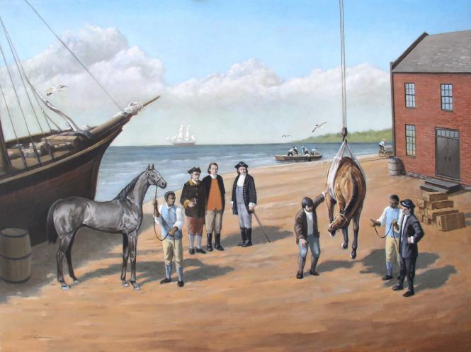 Artist's rendering of the off-loading of a thoroughbred horse, Queen Mab, a gift from the King of England.  She was brought to the colonies as a foundation horse for Maryland blood stock.