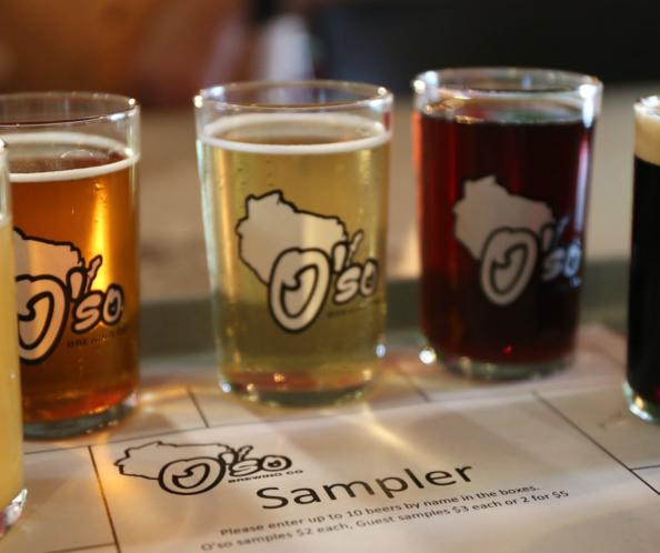 The sampler platter at O'so Brewing Company