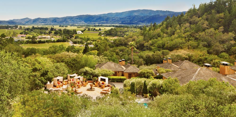 Auberge Resort with view of Napa Valley
