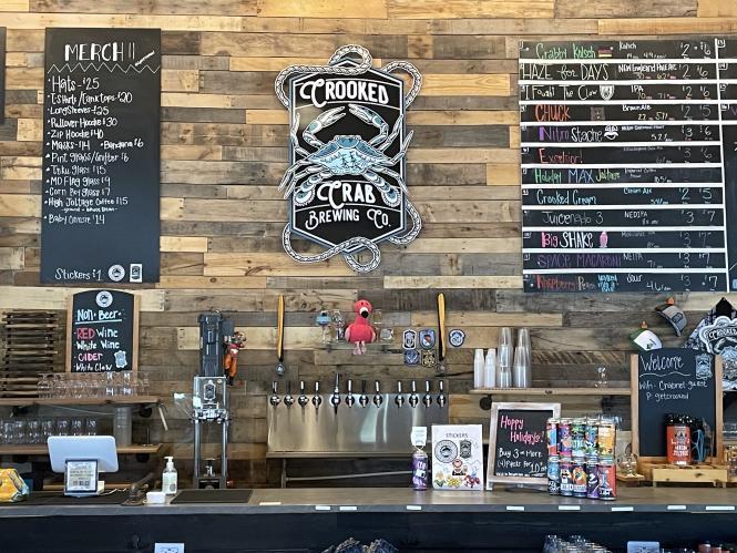 Crooked Crab Brewing Co. beer menu.